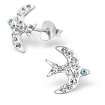 Bird - 925 Sterling Silver Crystal Ear Studs - W4260x
