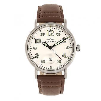 Elevon Von Braun Leather-Band Watch w/Date - Silver/Brown