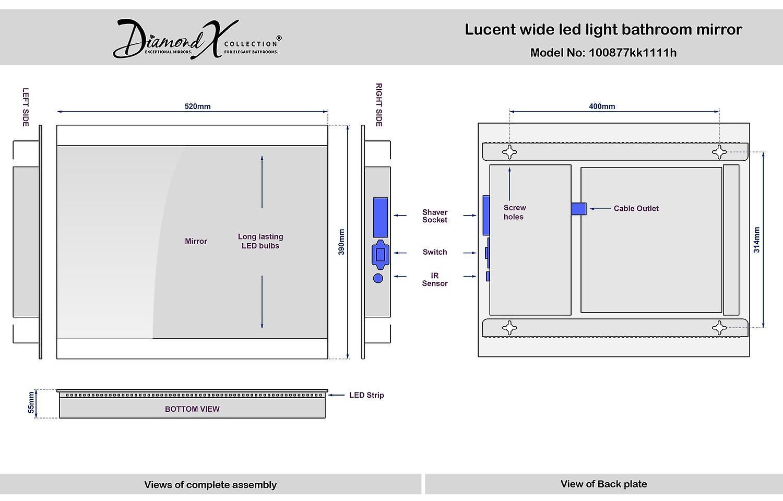 Baie Double Edge LED salle de bain miroir de rasoir k1111h
