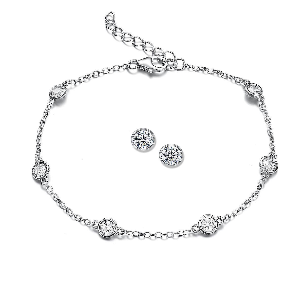 925 Sterling Silver Droplet Set With Bezel Stud Earrings