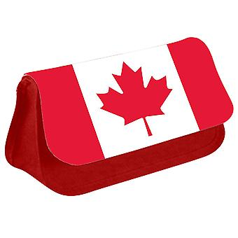 Canada Flag Printed Design Pencil Case for Stationary/Cosmetic - 0032 (Red) by i-Tronixs