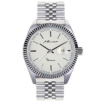 J. Brackett Verona Bracelet Watch w/Date - Beige
