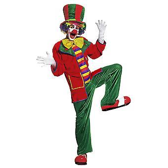 Clown kostuum fluweel (jas broek Bow tie Hat)