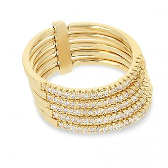 Ring Plated Gold Demi Alliance Five Rows With Cubic Zirconia