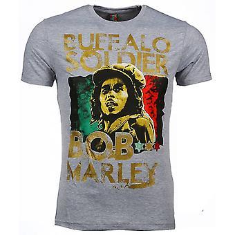 Camiseta-Bob Marley Buffalo Soldier Print-Grey