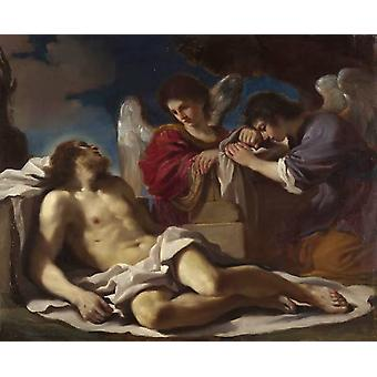 The Dead Christ Mourned by two Angels,GUERCINO,36.8x44.4cm