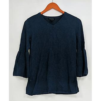 H by Halston Women's Sweater V-neck Bell Sleeve Sweater Tunic Blue A297074