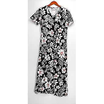 Denim & Co kort ermet V-hals floral print kjole svart A214532