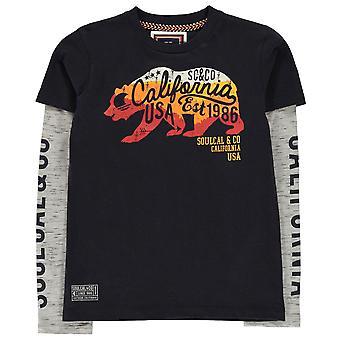 SoulCal Boys mock Layer Långärmad T shirt Junior Crew hals T-shirt tee Top Kid