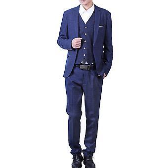 Allthemen Men's Suits 3-Piece Plaid Banquet Business Casual Suits Blazer&Pants&Vest