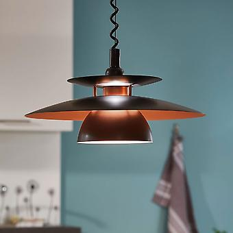 Eglo Brenda Rise And Fall Ceiling Pendant In Black And Copper