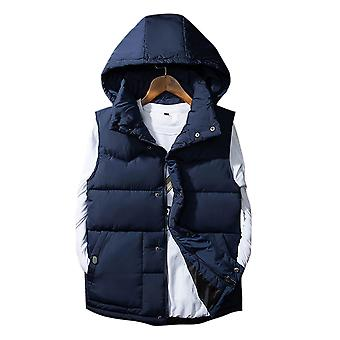 Allthemen Men's Padded Waistcoat Detachable Cap Autumn Sleeveless Padded Jacket