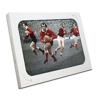 Wales Rugby Photograph signed by Gareth Edwards, JPR Williams, Phil Bennett and Barry John In Gift Box