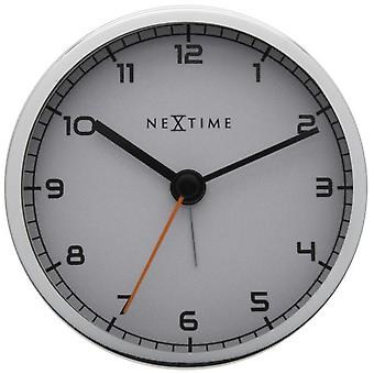 Nextime Alarme Horloge 9X9X7.5 Cm Métal Blanc Alarme D'Entreprise