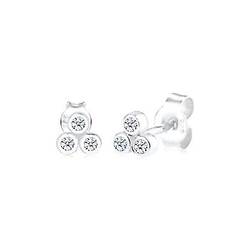 Diamore Women's Pin Earrings in Silver 925 with White Diamond - Round Cut