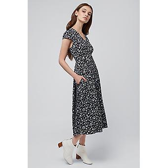 Louche Cathy Flor Impresión Vestido de Té Marino