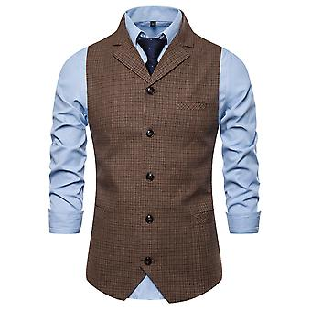 Allthemen miesten ' s ruudullinen yksirivinen Lapel Business rento puku liivi
