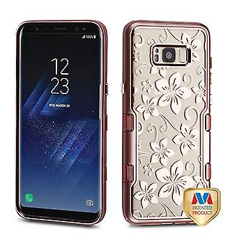 MYBAT Metallic Rose Gold/Electroplating Rose Gold Hibiscus Flower (Clear) TUFF Panoview Hybrid Case for Galaxy S8 Plus