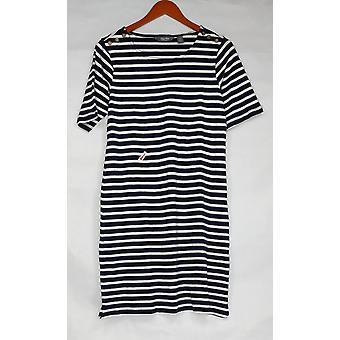 Martha Stewart Dress Striped Scoop-Neck Elbow-Sleeve Blue A309302