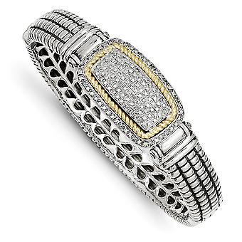 925 Sterling Zilver Scharnierende Gepolijste Prong set Verborgen vangst en 14k Gele Diamond Cuff Stapelbare Armband Sieraden