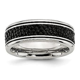 Acero inoxidable pulido Stingray acanalado textura 8mm anillo - anillo tamaño: 8 a 13