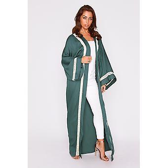 Florina metallic contrast trim lightweight long sleeve maxi length duster jacket in green