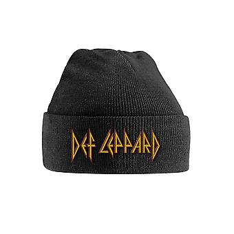 Def Leppard Beanie Hat Red yellow Band  Logo new Official Black Embroidered
