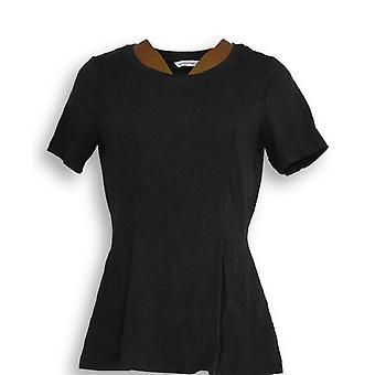 Isaac Mizrahi Live! Women's Top Short-Sleeve Seamed Peplum Black A354253