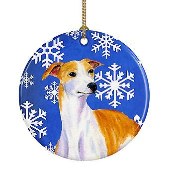 Carolines Treasures  LH9283-CO1 Whippet Winter Snowflake Holiday Ceramic Ornamen