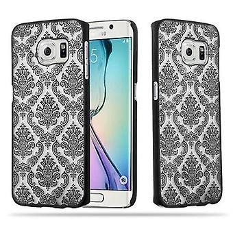 Samsung Galaxy S6 EDGE Hardcase Hülle in SCHWARZ von Cadorabo - Blumen Paisley Henna Design Schutzhülle – Handyhülle Bumper Back Case Cover
