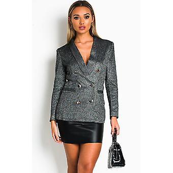 IKRUSH Womens Remy Sparkly Blazer Jacket
