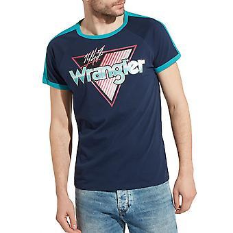 Wrangler Mens Raglan Crew Neck Short Sleeve Cotton Casual T-Shirt Tee Top - Navy