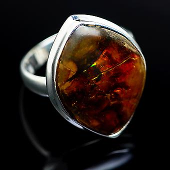 Ammolite Ring Size 9 (925 Sterling Silver)  - Handmade Boho Vintage Jewelry RING977776