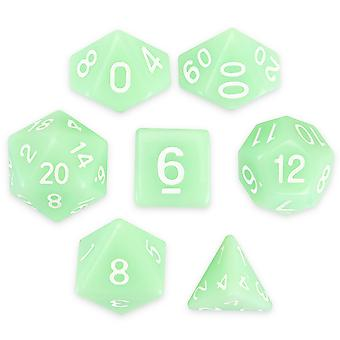 Set of 7 Polyhedral Dice, Ghost Jade
