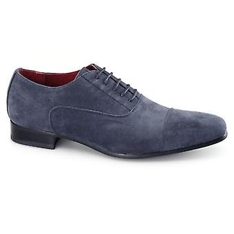 Rossellini Mario Mens Faux Suede Oxford Shoes Blue