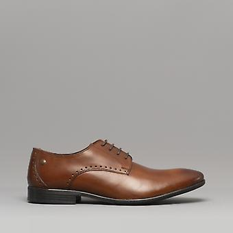 Base London Westbury Mens Leather Derby Shoes Washed Tan