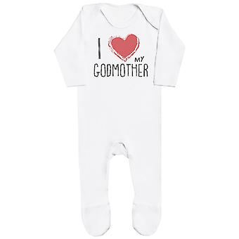 I Love My GodMother Red Heart Baby Romper