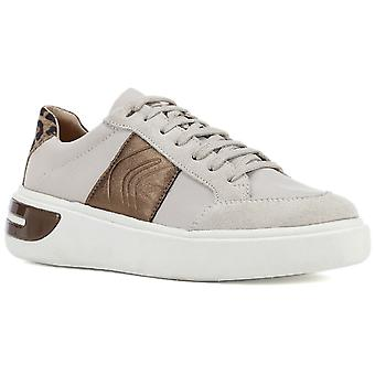 Geox Womens D Ottaya F Lace Up Leather Trainers