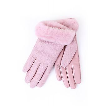 UGG Womens Fabric And Leather Sherling Lined Gloves