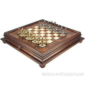 Finnesburg Brass and Briarwood Traditional Chess Set