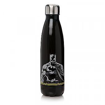DC Comics Batman Trinkflasche Logo schwarz, bedruckt, aus Edelstahl, Fassungsvermögen ca. 500 ml.