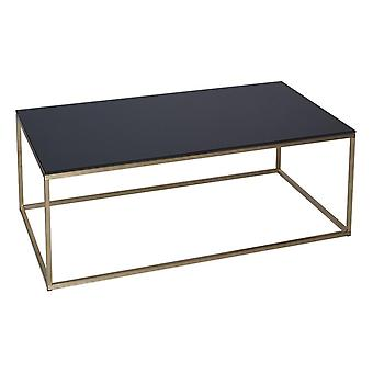 Gillmore Black Glass And Gold Metal Contemporary Rectangular Coffee Table