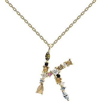 PD Paola CO01-106-U necklace and pendant - I AM in gold silver with natural stones and semi-precious Women