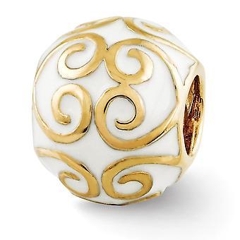 925 Sterling Silver polerade reflektioner 14k Guldpläterad och enameled Bali Pärla Charm Hängande Halsband Smycken Gåvor för