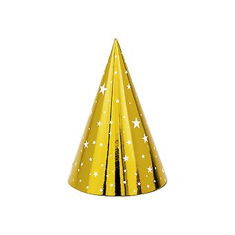 LAST FEW - 6 Foil Gold Card Party Hats with White Stars   Kids Birthday Party Hats