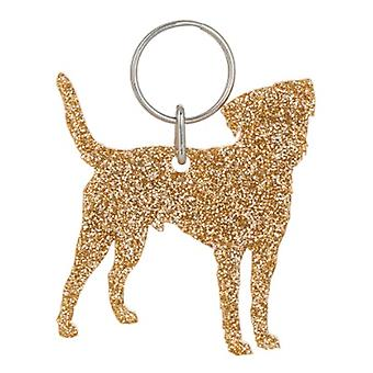 Gold Border Terrier Style 2 Glitter Acrylic Keyring