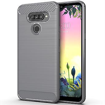 LG K50S TPU Case Carbon Fiber Optik Brushed Schutz Hülle Grau