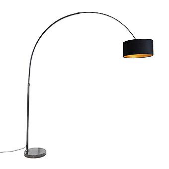 QAZQA Lampe Arc noir veror ombre noire avec or 50 cm - XXL