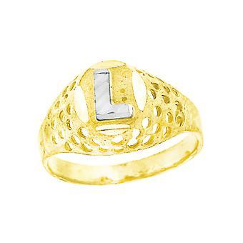 10k kaksi sävy kultaa vauva pojille tai tytöilleLetter Nimi Henkilökohtainen Monogram alkuperäinen L Band Ring Toimenpiteet 7.5x2.20mm Wide S