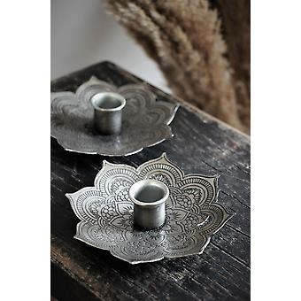 Majas Cottage Candlestick Grau Metall 12 cm